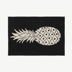 """Black&White"" Washable Rug with Pineapple Print"