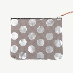Clutch with Silver Polka Dots in Gray