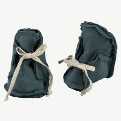 "Baby ""Raw Edged Booties"" Stoffschuhe in Blaugrau"