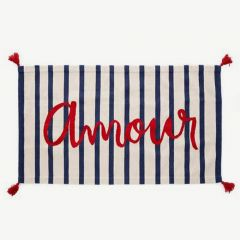 Striped Rug with Amour Print