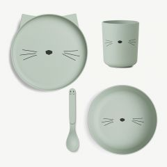 Bamboo Tableware Set Cat, 4 Pieces