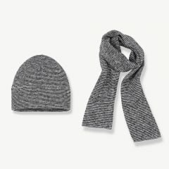 """Calvi"" Beanie & Scarf in Black/ White, 2-Piece Set"