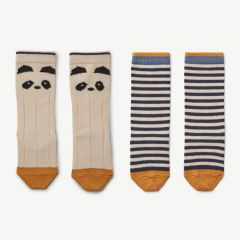 Sofia Cotton Knee Socks with Panda Print/Stripes in Ecru (2 pack)
