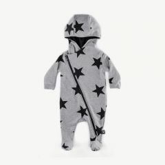 Star Zip Footed Overall in Heather Grey