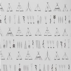 """Native"" White Wallpaper with Teepees and Arrows"