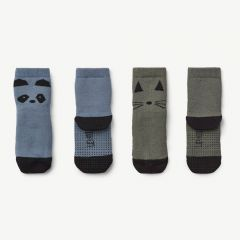 Nellie Anti Slip Socks Panda in Blue Wave, Pack of 2