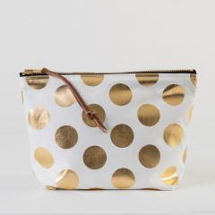 Clutch Bag with Gold Polka Dots in White