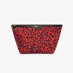 Red Leopard Satin Beauty Bag