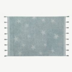 Hippy Stars Washable Rug in Aqua Blue