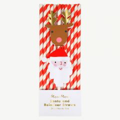 Christmas Santa Reindeer Straws in Red - Pack of 24
