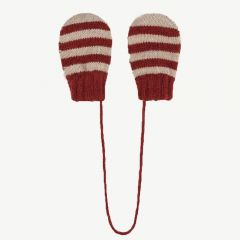 Red Striped Mitten Gloves in Red