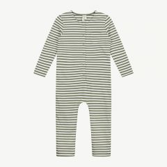 Overall with Stripes in Moss/ Cream