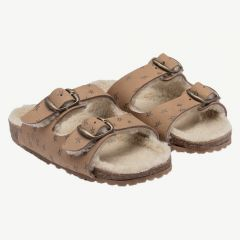 """Stars Sheepskin"" Leather Sandals in Drizzle"