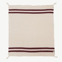 Blanket with Stripes in Natural&Burgundy