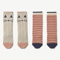 Sofia Cotton Knee Socks with Cat Print/Stripes in Coral Blush (2 pack)
