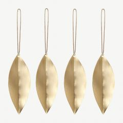 Leaf Brass Ornaments - Set of 4