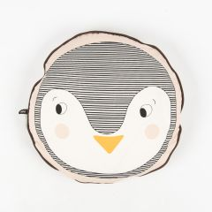 Round Penguin Cushion in Rose