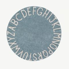 """Round ABC"" Washable Rug in Vintage Blue"