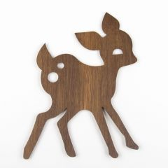 Brown Deer Lamp Made of Oak Veneer