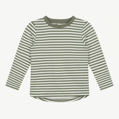 Long Sleeve Shirt with Stripes in Moss/ Cream