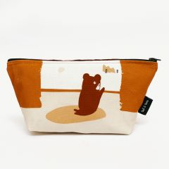 """Mountain View"" Kosmetiktasche in Creme/Orange"