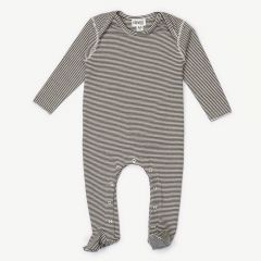 Footed Jumpsuit with Stripes in Black/ White