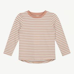 Long Sleeve Shirt with Stripes in Rustic Clay/ Cream