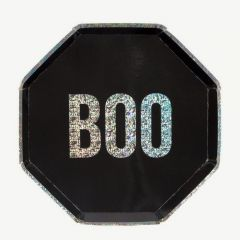 Halloween BOO Pappteller in Schwarz - 8er-Pack