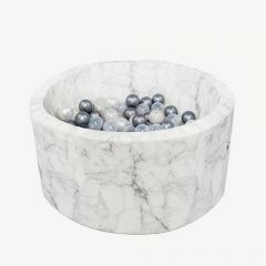 Round Ballpit in White Marble (Silver, Pearl, Clear)