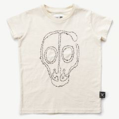 Embroidered Skull Mask T-Shirt in White