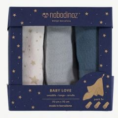 "Night Blue ""Box Baby Love"" Swaddles Pack of 3"