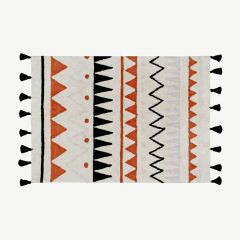 """Azteca Natural"" Washable Rug in Terracota"