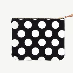 Clutch with White Polka Dots in Black