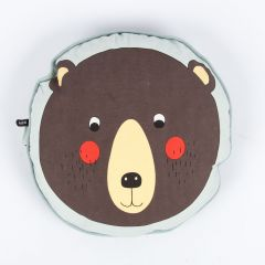 Round Bear Cushion in Brown