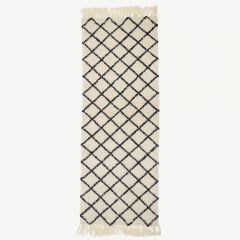 Nature Wool Rug with Diamond Pattern