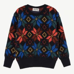 """Multicolor"" Jacquard Strickpullover in Dunkelblau"