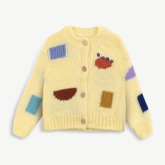 Color Play Baby Cardigan aus Materialmix in Creme