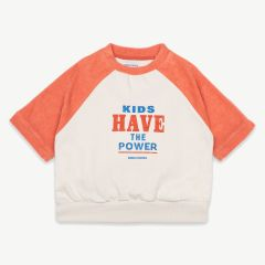 Kids Have The Power Sweatshirt aus Bio-Baumwolle in Creme/Orange
