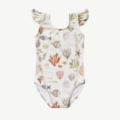 Sea Life Frill Onepiece in Ivory