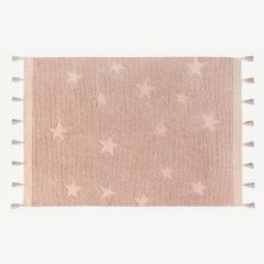 Hippy Stars Washable Rug in Vintage Nude