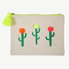 Beige Pouch with Cactus Print