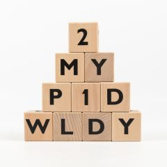 Wooden Blocks with Black Letters and Numbers