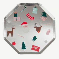 Christmas Party Plates in Silver - Pack of 8