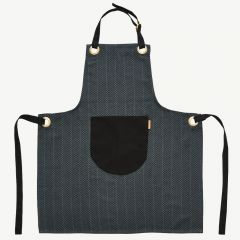 Momo Herringbone Apron in Anthracite