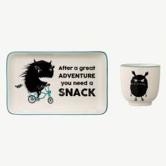White Stoneware Monster Cup & Plate
