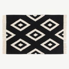 """Black&White"" Washable Rug with Diamonds Print"