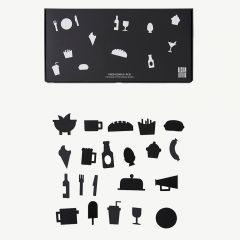 Food Icons for Message Board in Black