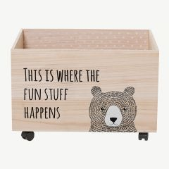 Wooden Storage Box with Wheels and Bear