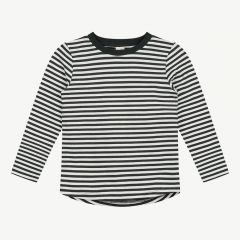 Long Sleeve Shirt with Stripes in Nearly Black/ Cream