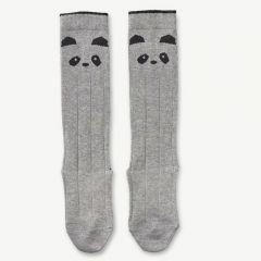 Sofia Cotton Knee Socks Panda in Grey Melange (2 pack)